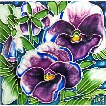 Multicolor Poppies Flower Decorative Ceramic Art Tile En Vogue B-431 8 x 8 in