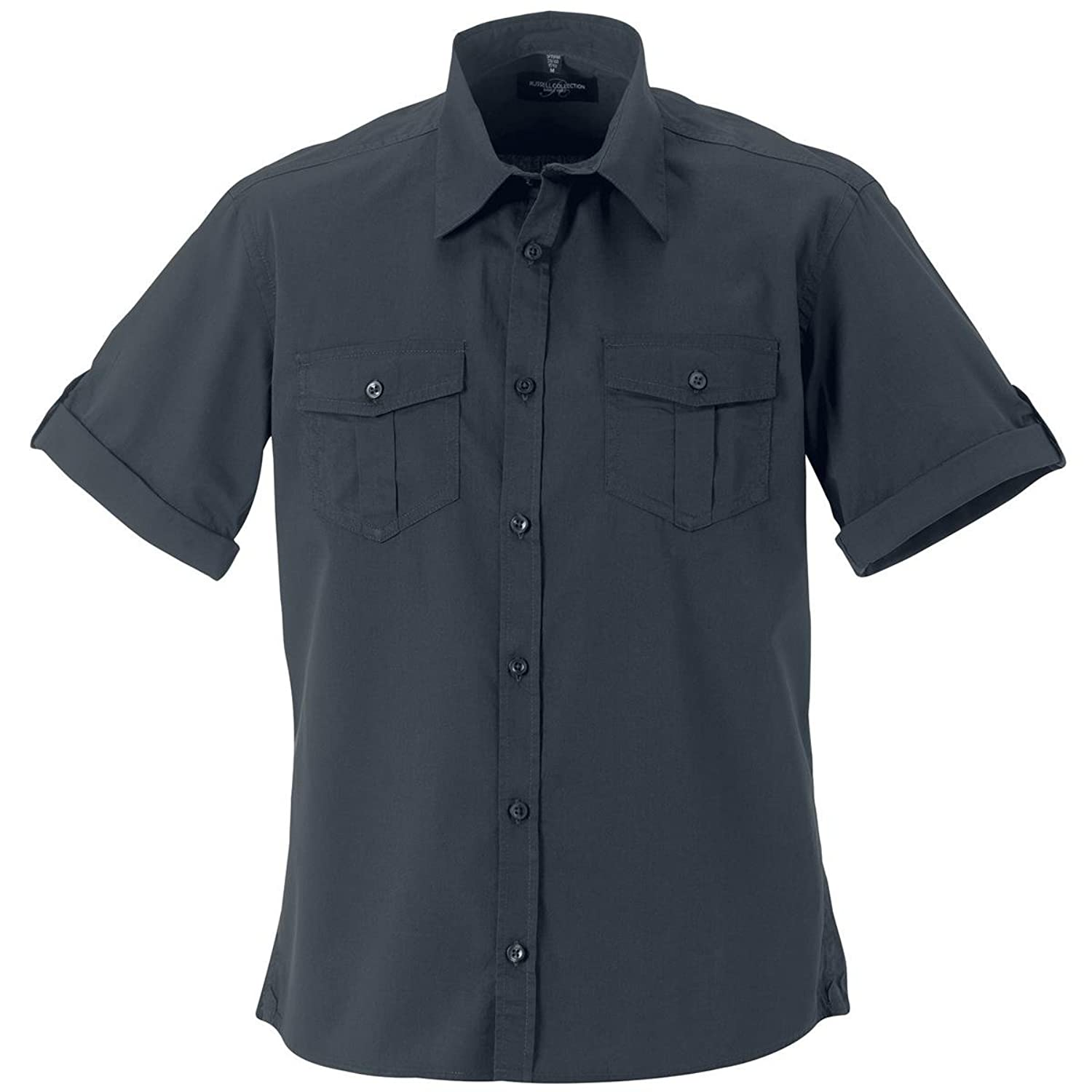 New Mens Roll-Sleeve Shirt Short Sleeve Modern Fitted Rounded Hem Casual Shirt