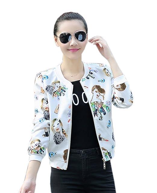 COCO clothing Otoño Blanco Chaquetas de Mujer Estampado Senora Beisbol Sweatshirt Casual Cardigans Manga Larga Jacket