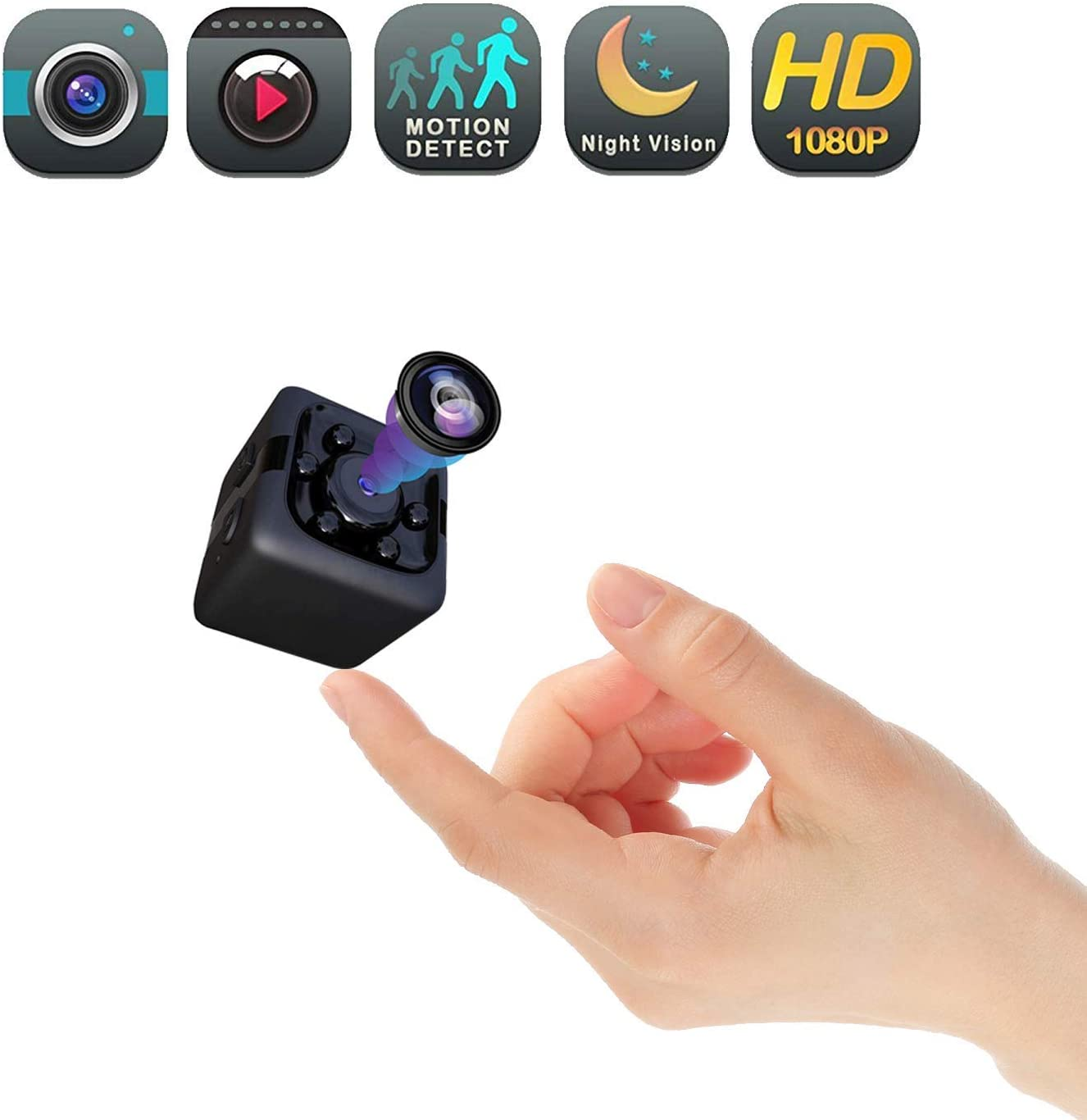 Mini Cam Wireless Covert Spy Camera Portable Full HD 1080P Babysitter Cam with Night Vision Video Sound Recording Home Car Drone Office Outdoor Animal Dynamics Detection