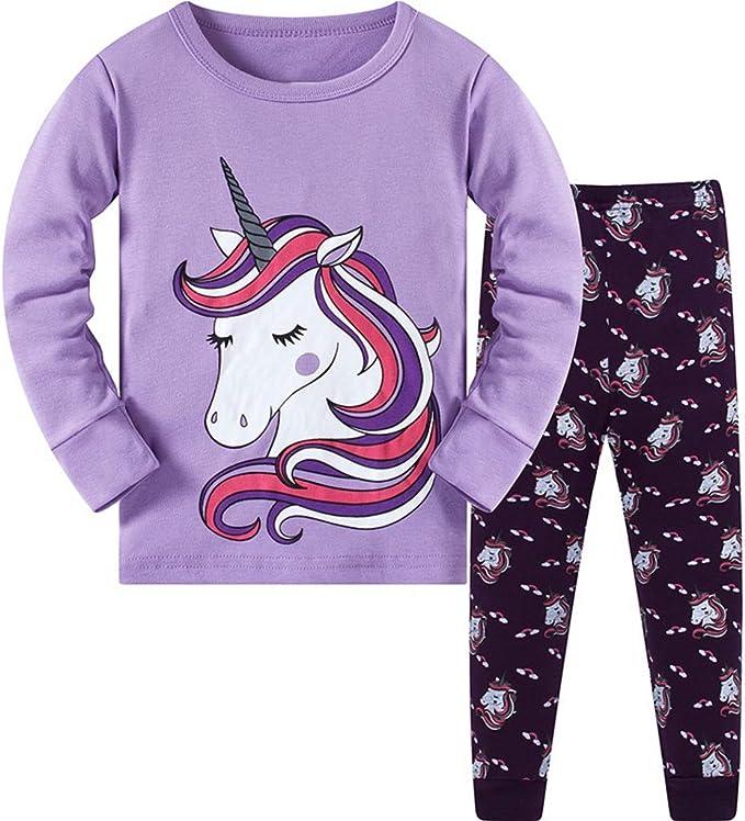 DAWILS Pijama para niñas Unicornio Pijamas de Manga Larga para ...