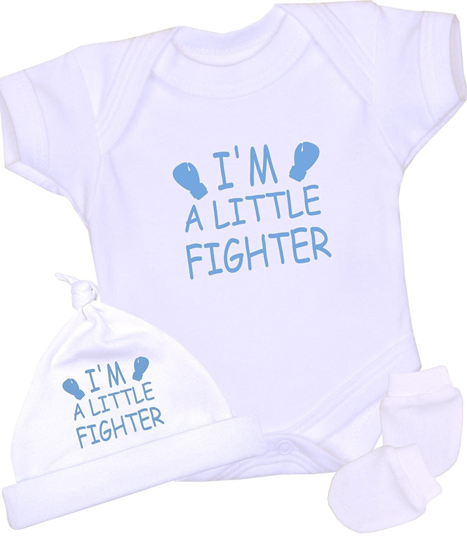 BabyPrem Frühchen Baby Body Hut Fäustlinge Set Jungen Mädchen 'Little Fighter' Kleidung 32-50cm LB040LF