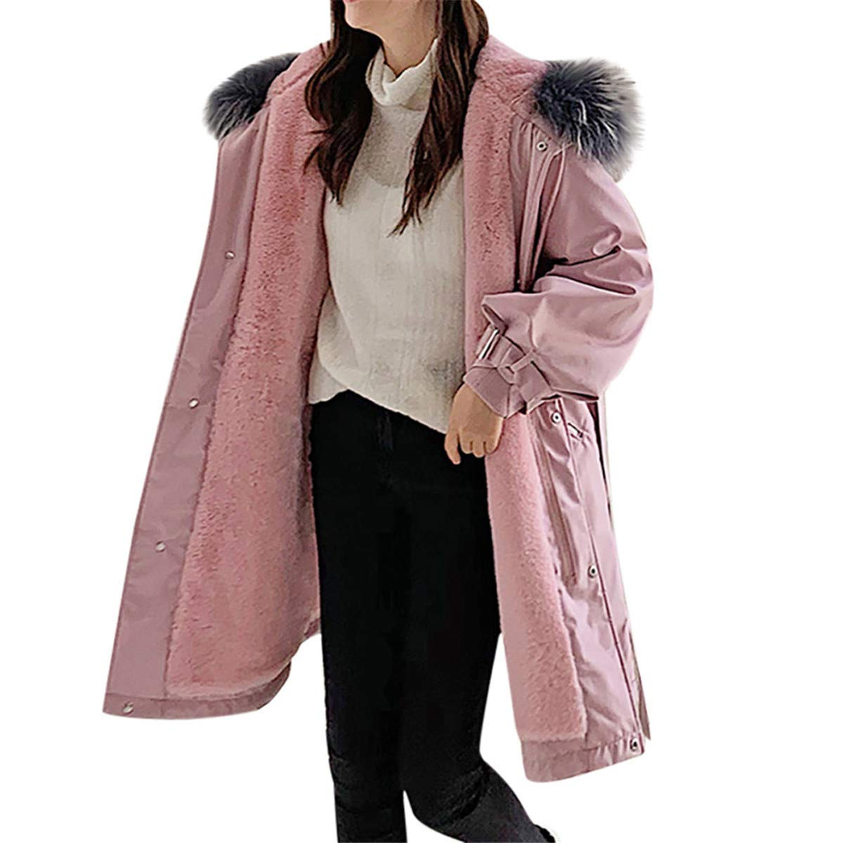 Thenxin Women's Winter Parka Puffer Hooded Jacket Solid Color Thick Lined Outwear with Drawstring(Pink,L) by Thenxin