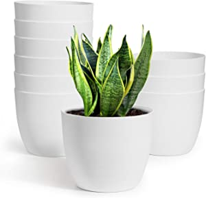 T4U Self Watering Planters Plastic 6 Inch White Set of 10, Plant Flower Pot Modern Decorative Seeding Nursery Pots Outdoor Indoor Garden for All House Plants Flowers Herbs African Violets