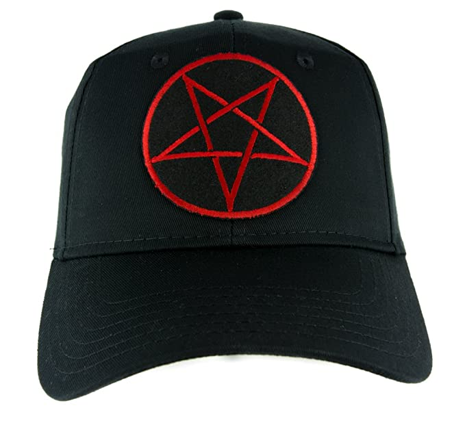 Amazon.com  Red Inverted Pentagram Hat Baseball Cap Occult Clothing ... e4a12ad1808