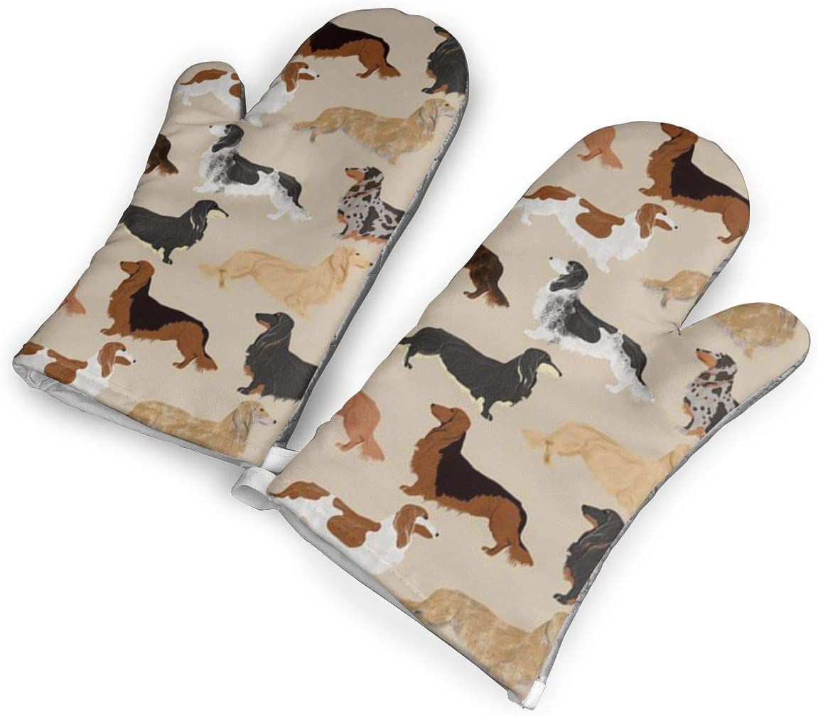 Ubnz17X Long Haired Dachshunds Dogs Heat Resistant Kitchen Oven Mitts/Mitt of 1 Pair for Home Kitchen Cooking Barbecue Microwave