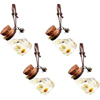 4 Pcs 7ml Car Perfume Pendant Hanging Bottle With Flower,Clear Glass Car Air Freshener Diffuser Essential Oil Perfume…