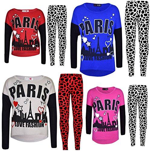 Kids Girls PARIS Printed Trendy Top & Fashion Legging Set New Age 7-13 Years