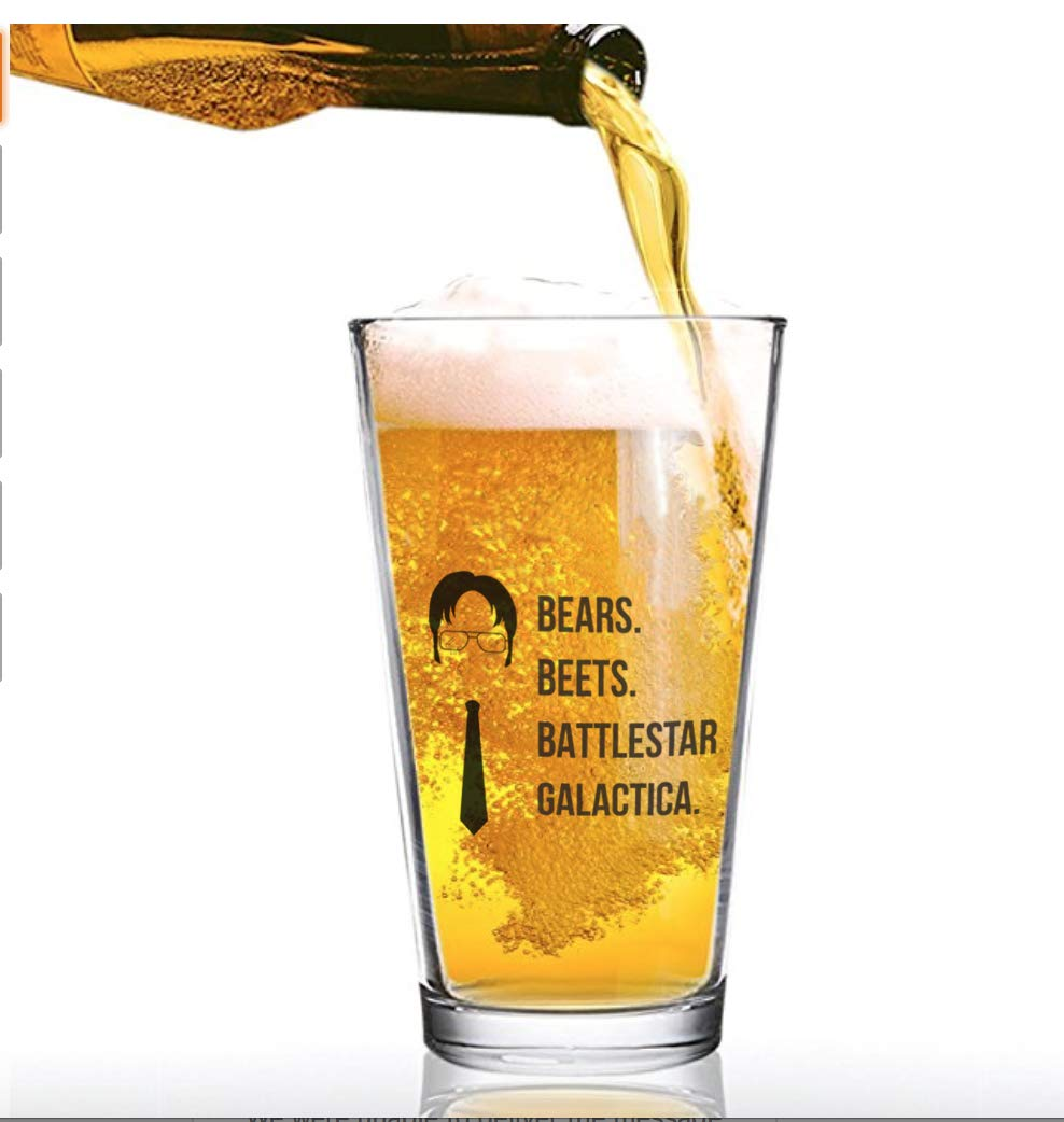 The Office Funny Beer Glass | Merchandise Mug''Bears Beats Battlestar Galactica'' | Dwight Schrute Quote Craft Beer Glasses by Vivid Ventures (Image #1)