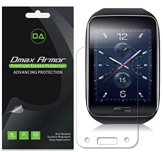 Dmax Armor [3-Pack] for Samsung Gear S Screen Protector, High Definition Clear Shield - Lifetime Replacement