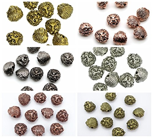 jennysun2010 Solid Metal Lion Head Bracelet Necklace Connector Charm Beads Randomly Mixed 30pcs per Bag for Bracelet Necklace Earrings Jewelry Making Crafts Design