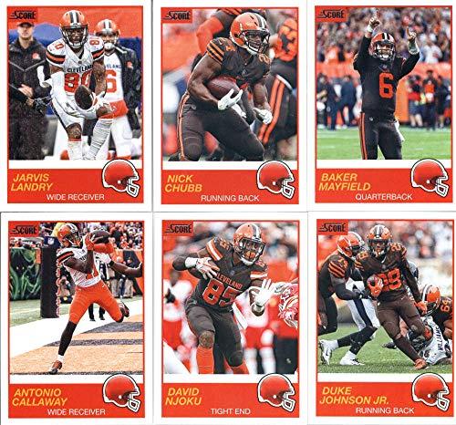 2019 Panini Score Football Veteran Cleveland Browns Team Set of 10 Cards: Baker Mayfield(#102), Nick Chubb(#103), Jarvis Landry(#104), Duke Johnson Jr.(#105), David Njoku(#106), Antonio Callaway(#107), Denzel Ward(#108), Myles Garrett(#109), Jabrill Peppers(#110), Jamie Collins(#111)