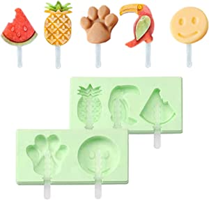 KUNNAO Silicone Ice Popsicle Molds with Lid and Sticks,DIY Pop Molds Maker For Babies Kids Toddlers Mini Ice Cream Makers BPA Free Easy-release Healthy Fruit Shape - 2 pack, Mint Green