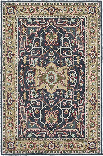 India House Burgundy Rectangle Rug - Hutsonville Updated Traditional Farmhouse 2' x 3' Rectangle Updated Traditional 100% Wool Charcoal/Moss/Burgundy/Aqua/Dark Green/Beige Area Rug