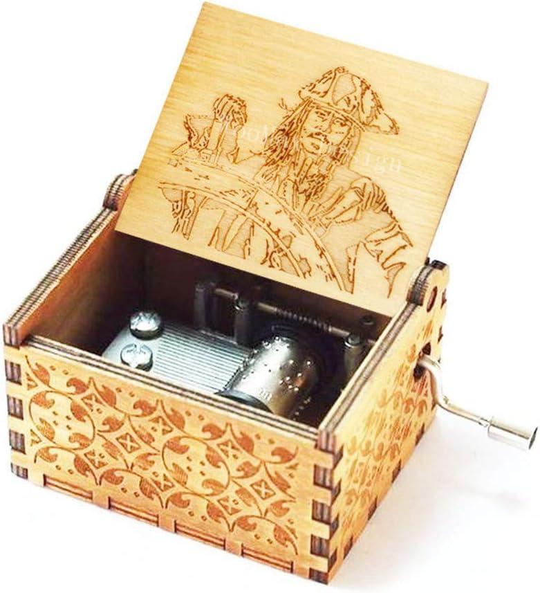 Cuzit Jack Sparrow - Caja de música de madera con manivela piratas ...