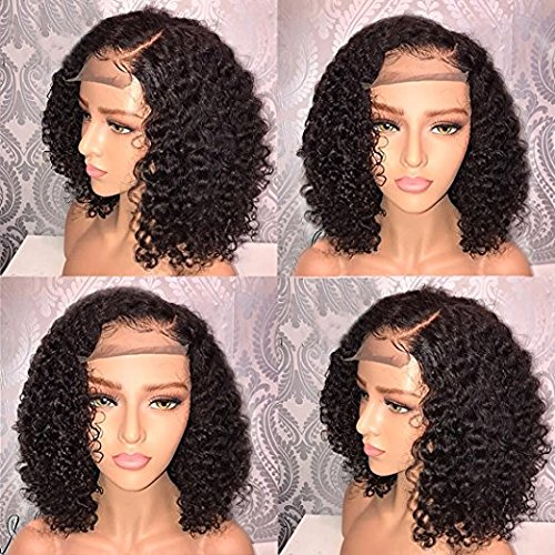 Short Curly Bob Lace Front Human Hair Wigs For Black Women 150 Density Water Wave 360 Lace Frontal Wig Short With Baby Hair Yaki Full Lace Wig Human