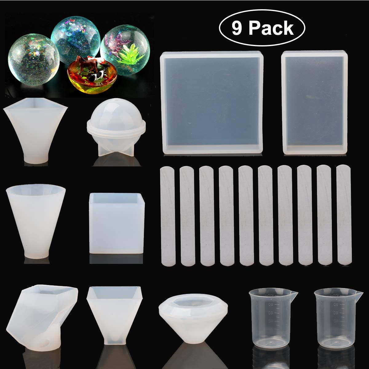 9 Pack Resin Molds,Silicone Jewelry Molds for Casting Resin, Soap,  Wax,Epoxy, Cube/Pyramid/Sphere/Diamond/Stone/Cone Resin Mold with Measuring  Cups &
