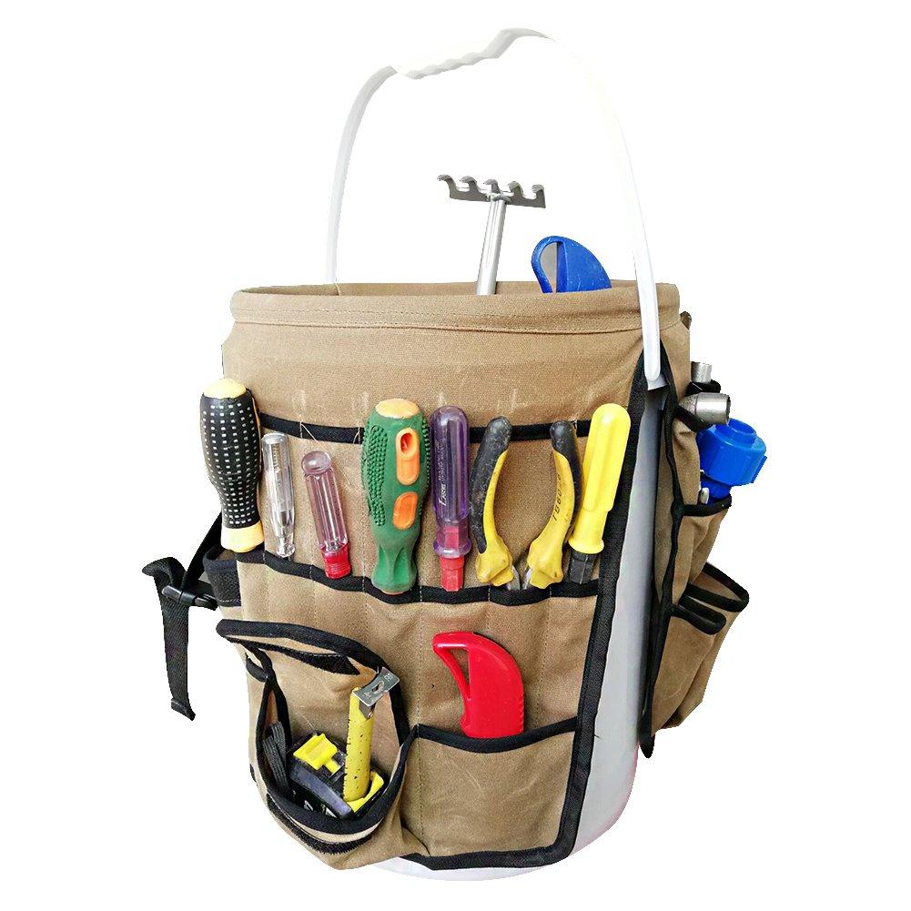Garden Caddy Bucket Tool Organizer Waterproof Waxed Canvas Tool Bag Heavy Duty Multi Purpose Bucket Tool Bag Holds All Little Tools for Garden Yard Perfect For Gardener or Fishing Enthusiast CYTB01