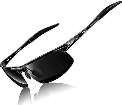 e6a734964d ATTCL Men s Driving Polarized Sunglasses Unbreakable Metal Frame 8177 black