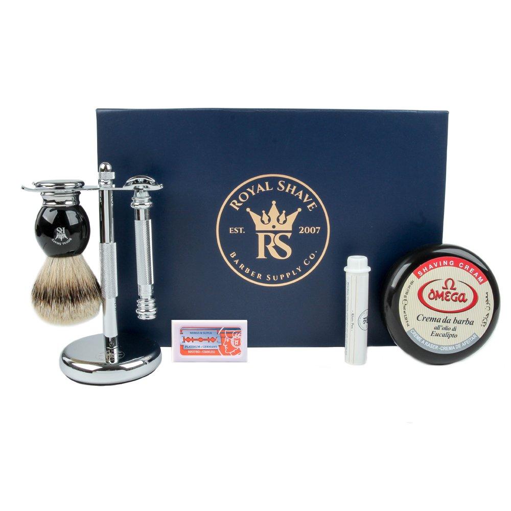 RoyalShave 38C Barberpole Shave Set- Wet Shaving Essentials Kit by Royal Shave