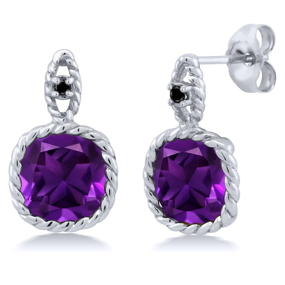 4.13 Ct Cushion Purple Amethyst Black Diamond 10K White Gold Earrings