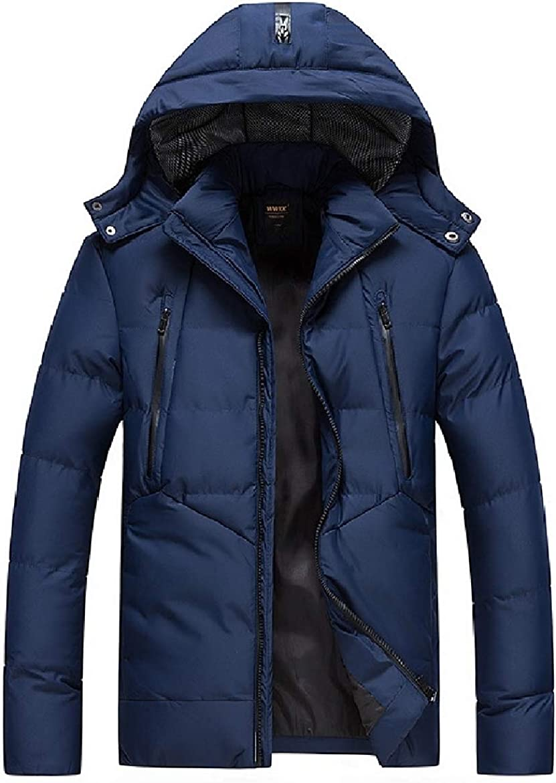Sayah Mens Thicken Mid Length Hood Solid Fashion Anorak Jacket