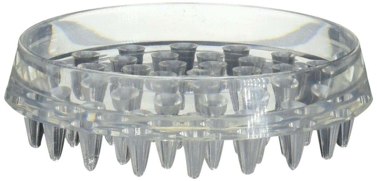 SHEPHERD HDWE PROD 19082 4 Pack 1-7/8'' Inside Dimension Clear Round Spiked Plastic Based Furniture Caster Cup Clam Package