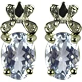 Ornami Glamour 9ct White Gold Diamond Set Butterfly with Aquamarine Stud Earrings
