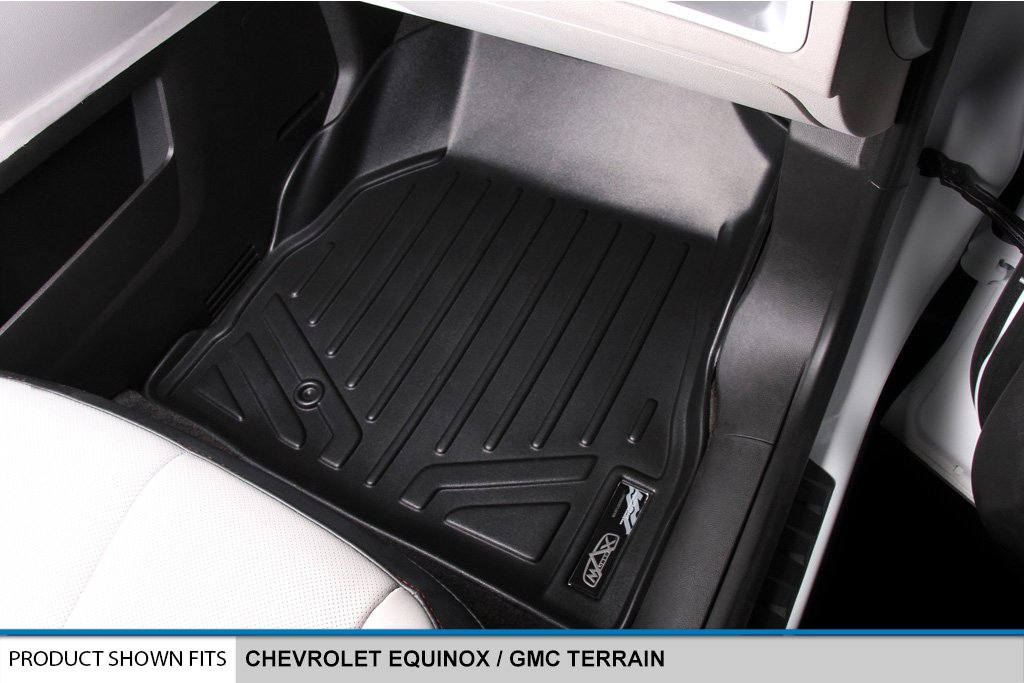 Dual Front Floor Hooks SMARTLINER Floor Mats 2 Row Liner Set Black for 2010-2011 Chevrolet Equinox//GMC Terrain