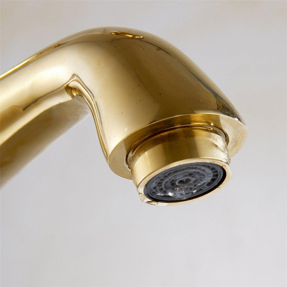 NGRJG Grifo de Cocina Grifo de lavabo de ba/ño pintado de cobre dorado blanco grifo de lavabo sobre encimera grifo de agua fr/ía y caliente ba/ño y cocina Grifos de lavabo Fontaner/ía de ba/ño.