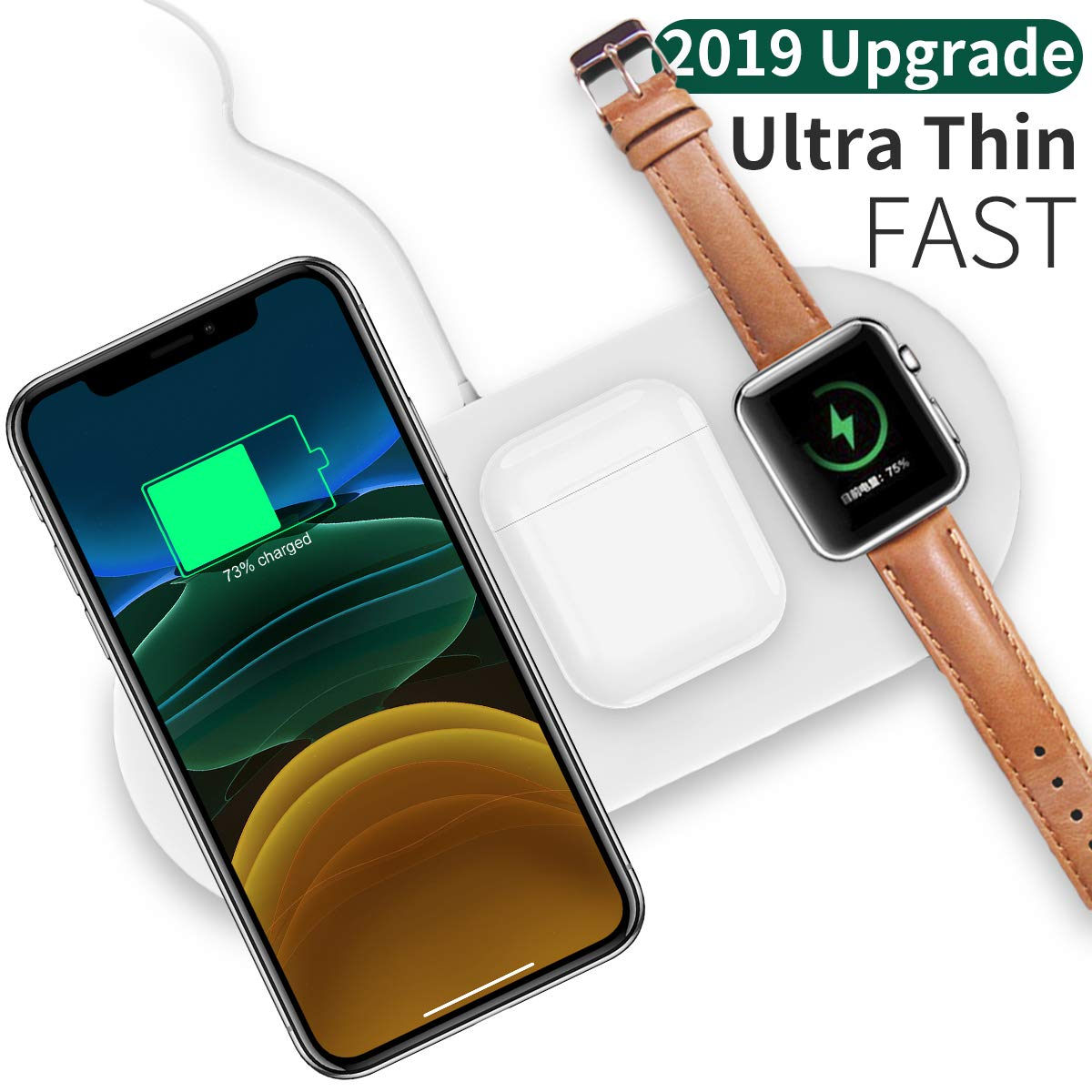 iWatch Sereis 4//3//2 and Airpods 2 QI habilitado Tel/éfono AICase Cargador inal/ámbrico r/ápido de 10 W 3 en 1 Qi Cargador Inducci/ón Compatible con iPhone 11 XS Max//XS//8//8Plus