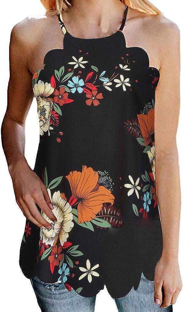 Women High Neck Floral Printed Tank Tops Summer Casual Chiffon Blouses Sleeveless Shirt