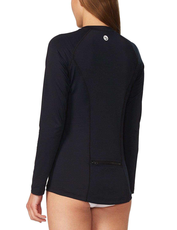 Baleaf Women's Long Sleeve Sun Protection Splice Rashguard Swim Shirt with Back Pocket Black Size M by Baleaf (Image #4)
