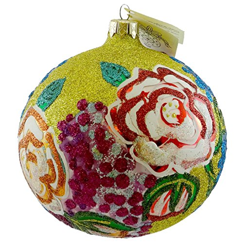 Larry Fraga CAMELLIA Blown Glass Ornament Ball Floral Flower ()