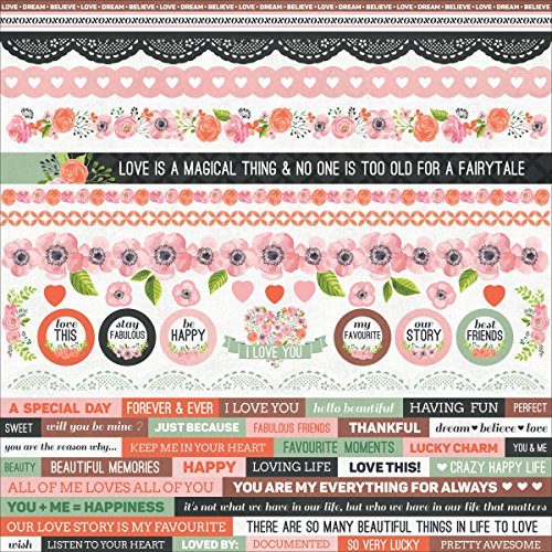 True Love Cardstock Stickers 12''X12''- by Kaisercraft