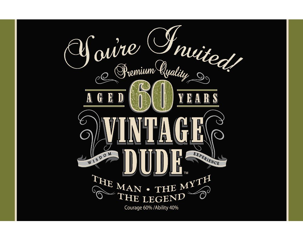Amazoncom 8Count Party Invitations Vintage Dude 60th Birthday