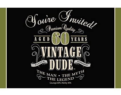 Amazon 8 Count Party Invitations Vintage Dude 60th Birthday
