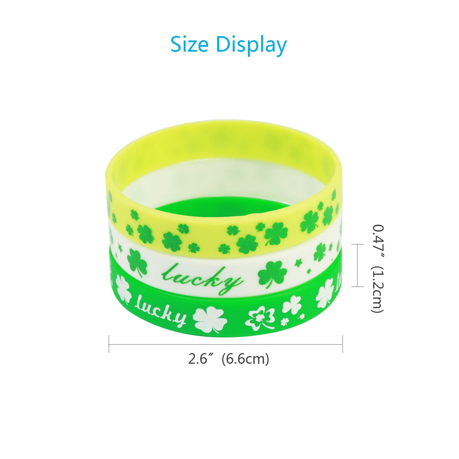 ZERHOK St Patrick\'s Day Shamrock Bracelets, 36pcs Clover Wristbands Silicone Bracelet Sets in 3 for Irish Day Party Favor Supplies Decorations