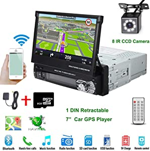 "Car Stereo in-Dash Single DIN 7"" HD Touch Digital Screen Head Unit Support Bluetooth GPS Mirror Link FM/USB/SD/MP5/Hands-free with Backup Camera and Microphone by UNITOPSCI"