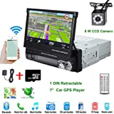 """Car Stereo in-Dash Single DIN 7"""" HD Touch Digital Screen Head Unit Support Bluetooth GPS Mirror Link FM/USB/SD/MP5/Hands-free with Backup Camera and Microphone by UNITOPSCI"""