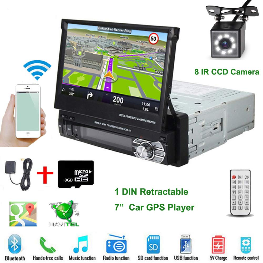 Car Stereo in-Dash Single DIN 7'' HD Touch Digital Screen Head Unit Support Bluetooth GPS Mirror Link FM/USB/SD/MP5/Hands-free with Backup Camera and Microphone by UNITOPSCI by UNITOPSCI