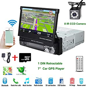 """Car Stereo - in-Dash Single DIN 7"""" HD Touch Digital Screen Head Unit Support Bluetooth WiFi GPS Mirror Link FM/USB/SD/MP5/Hands-free with Backup Camera and Microphone by UNITOPSCI"""