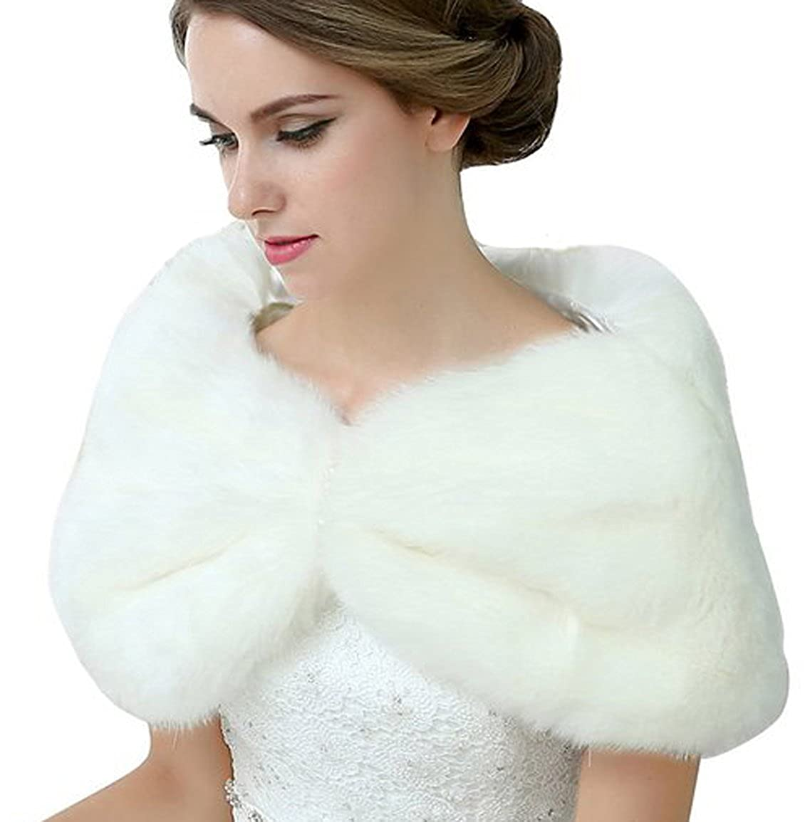 Belle House Women's Faux Fur Wrap Cold Weather Cape Winter Party Shawl For Gown 17010
