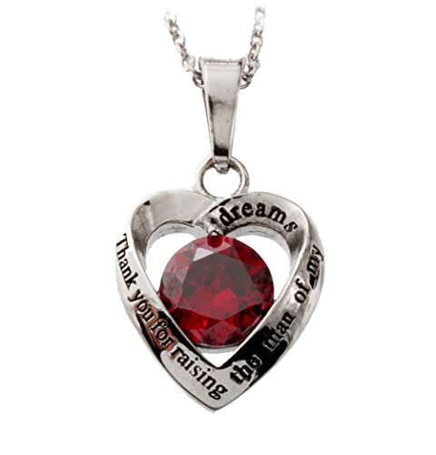 R.H. Jewelry Stainless Steel Sentiment Pendant Necklace, Mother in Law Red Crystal Heart Pendant