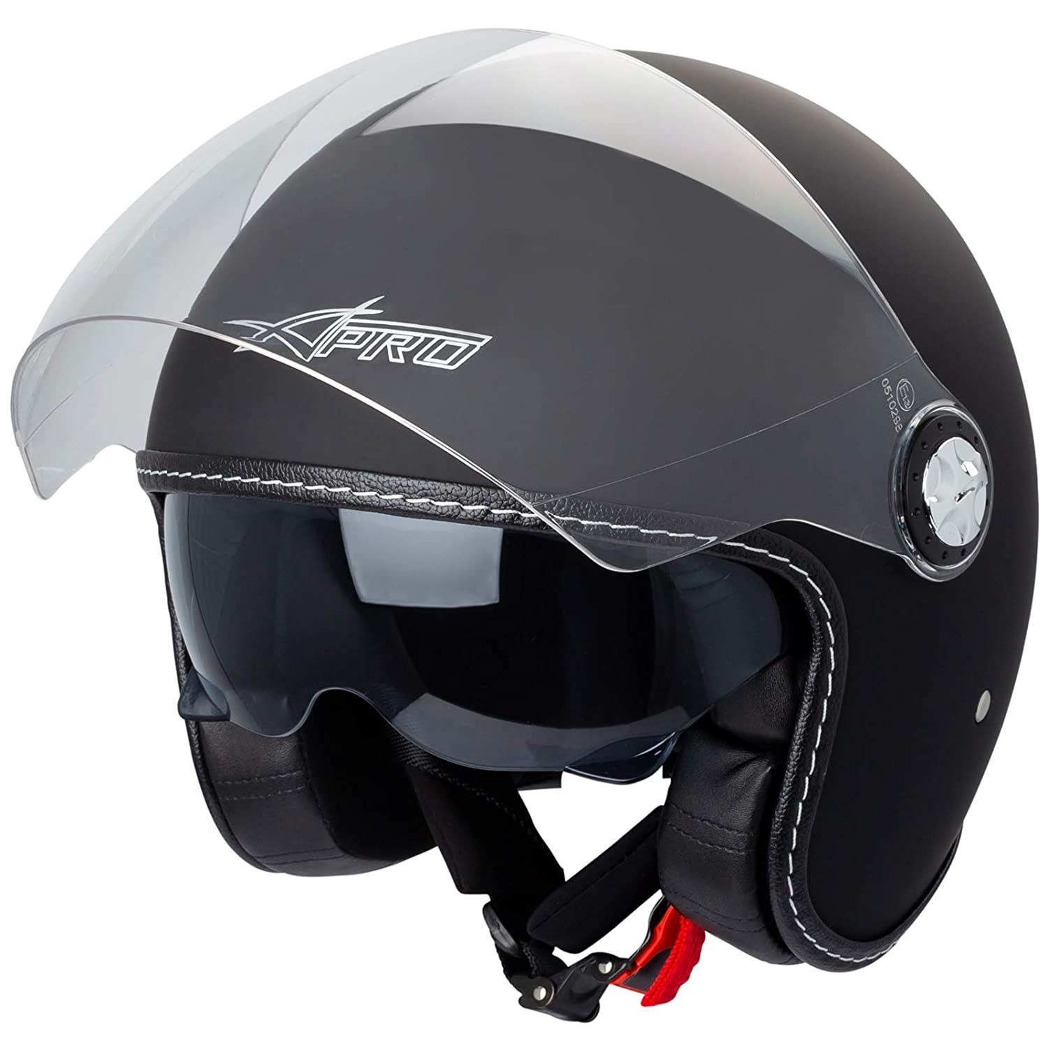 Jet Helmet City Retr/ò Open Face Motorcycle Double Visor Scooter Matt Black XL