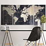 MasterPieces Old World Map Blue by Avery Tillmon Graphic Art on Wrapped Canvas Set, 3 Piece Picture