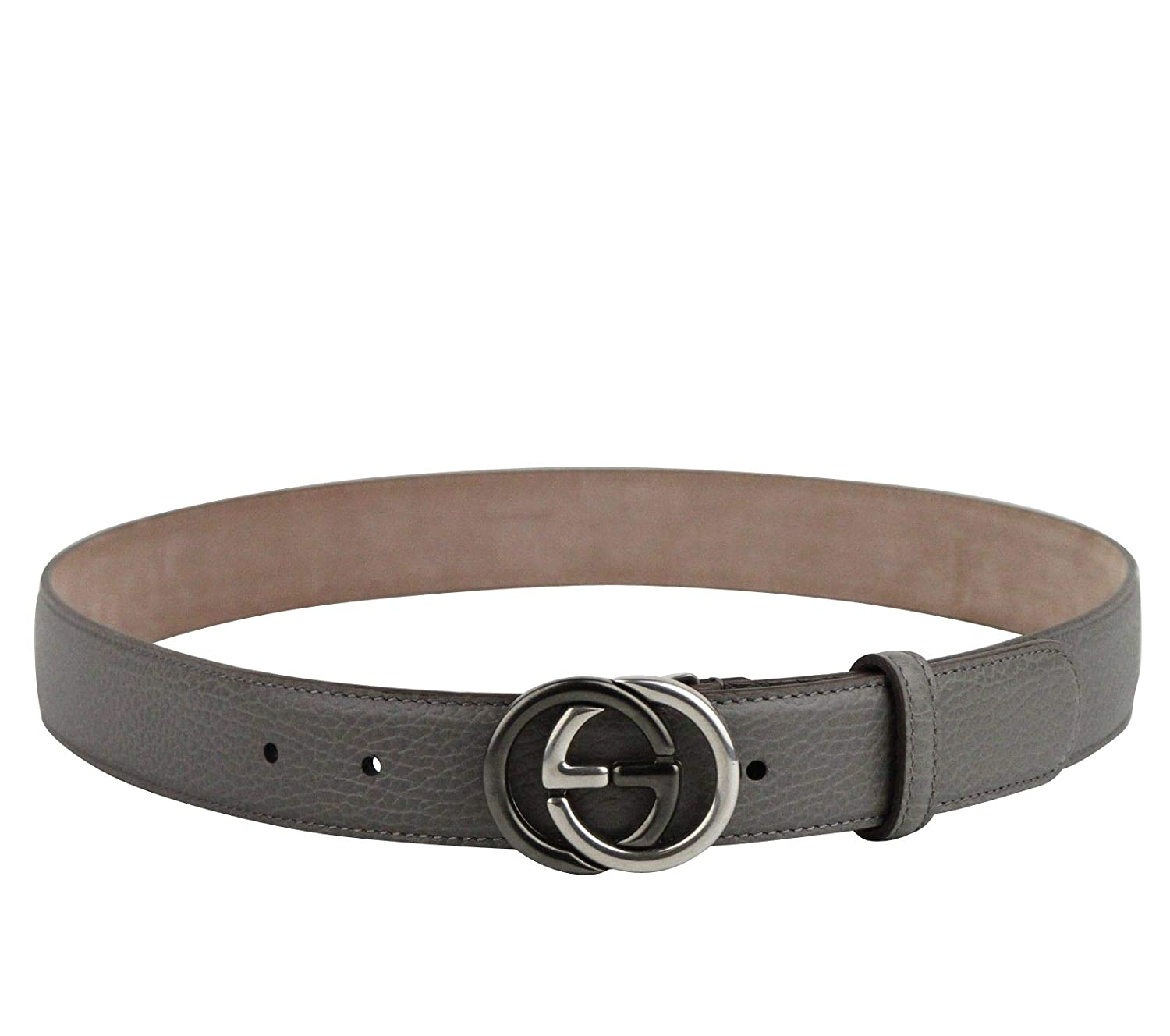 6983ebe0581 Amazon.com  New Gucci Men s Grey Leather Belt with GG Buckle 295704 1226  (110 44)  Clothing