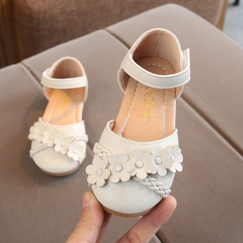 Baby Girls Sandals Toddler Newborn Little Kids Summer Solid Woven Floral Princess Sandal Slippers Boots Crib Shoes