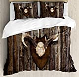 Antler Decor 4 Pieces Bedding Set Twin, Rustic Home Cottage Cabin Wall with Antlers Hunting Lodge Country House Trophy, Duvet Cover Set Decorative Bedspread for Childrens/Kids/Teens/Adults, Brown