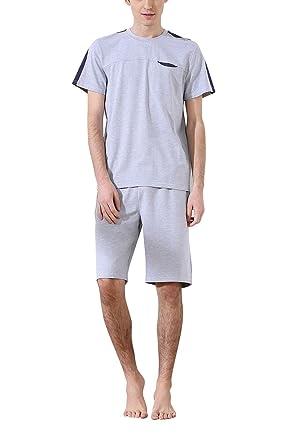 Dolamen Herren Schlafanzug Kurz , gemütlich Zweiteiliger Pyjamas in  Frühling Sommer r, 100% Baumwolle aa467e17fa